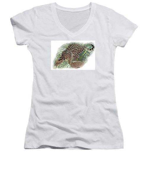 Pouncing Ocelot Women's V-Neck T-Shirt
