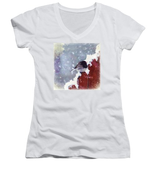 Junco In The Snow, Square Women's V-Neck (Athletic Fit)