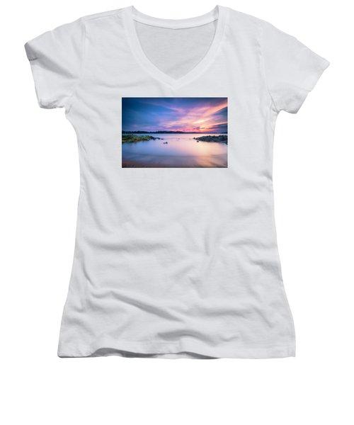 June Sunset On The River Women's V-Neck T-Shirt