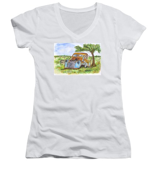 Junk Car And Tree Women's V-Neck T-Shirt (Junior Cut) by Clyde J Kell