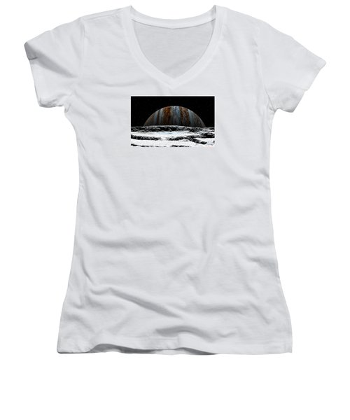 Women's V-Neck T-Shirt (Junior Cut) featuring the digital art Jupiter Rise At Europa by David Robinson