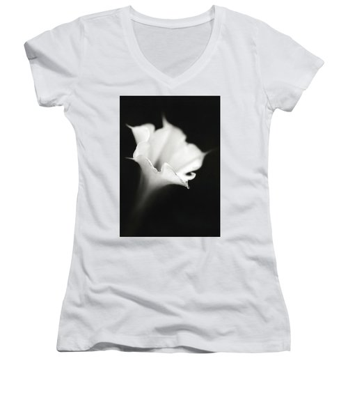 Women's V-Neck T-Shirt (Junior Cut) featuring the photograph Just A White Flower by Eduard Moldoveanu