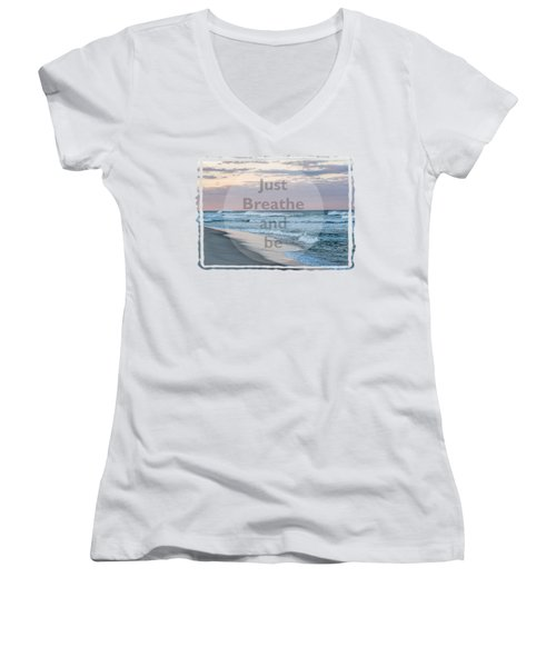 Just Breathe And Be Beach  Women's V-Neck T-Shirt (Junior Cut) by Terry DeLuco