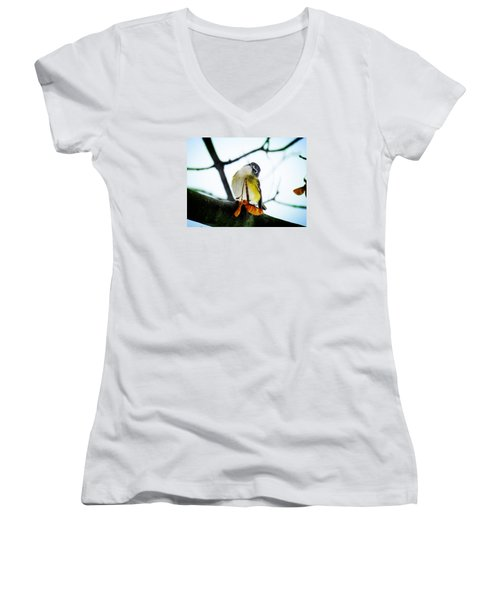 Women's V-Neck T-Shirt (Junior Cut) featuring the photograph Just Curious by Zinvolle Art