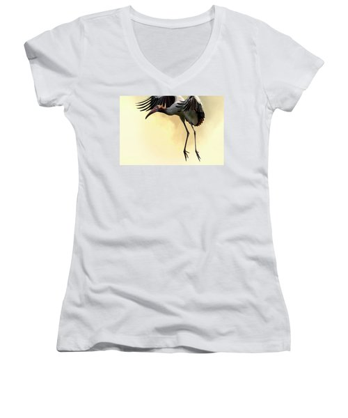 Just Dropping In Women's V-Neck T-Shirt (Junior Cut) by Cyndy Doty