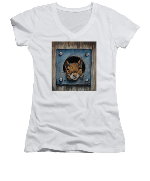 Just Hanging Out Women's V-Neck T-Shirt (Junior Cut) by Jean Cormier