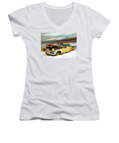 Just Needs A Paint Job Women's V-Neck T-Shirt (Junior Cut) by Susan Kinney