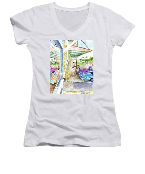 Women's V-Neck T-Shirt (Junior Cut) featuring the painting Just You And Me by Eric Samuelson