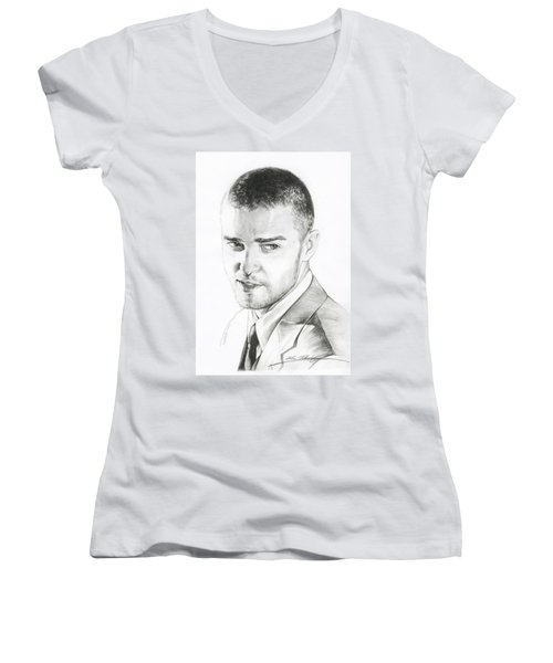 Justin Timberlake Drawing Women's V-Neck (Athletic Fit)