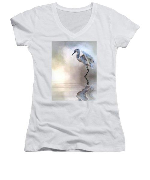 Juvenile Heron Women's V-Neck T-Shirt (Junior Cut) by Cyndy Doty
