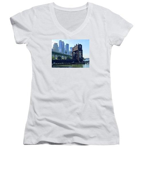 Juxtaposition Women's V-Neck T-Shirt (Junior Cut) by Beth Saffer