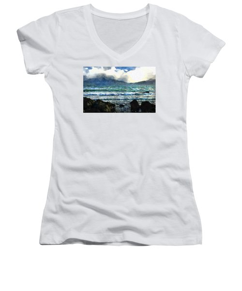 Kaikoura Seascape Women's V-Neck T-Shirt (Junior Cut) by Kai Saarto