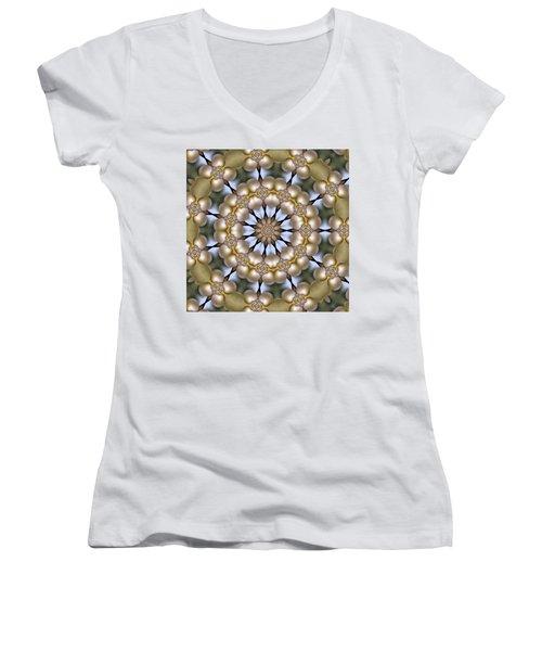 Women's V-Neck T-Shirt (Junior Cut) featuring the digital art Kaleidoscope 130 by Ron Bissett