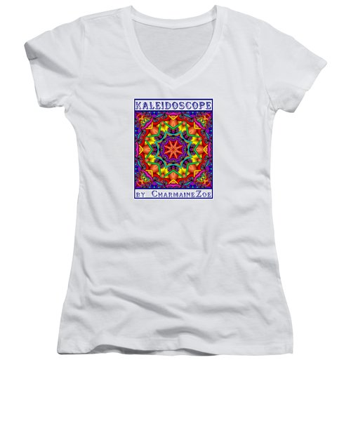 Women's V-Neck T-Shirt (Junior Cut) featuring the digital art Kaleidoscope 2 by Charmaine Zoe
