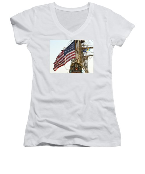 Kalmar Nyckel American Flag Women's V-Neck T-Shirt (Junior Cut) by Alice Gipson
