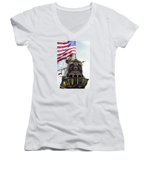 Kalmar Nyckel Tall Ship Women's V-Neck T-Shirt