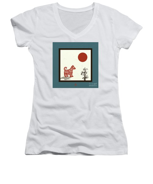 Kanji Dog On Blue Women's V-Neck (Athletic Fit)
