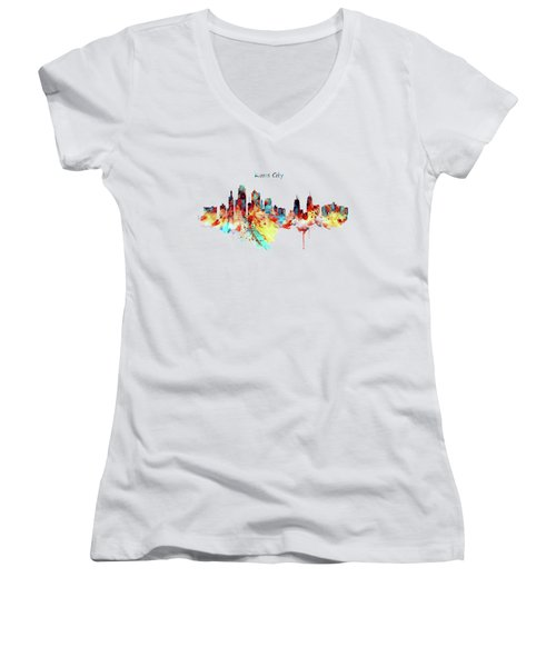 Kansas City Skyline Silhouette Women's V-Neck (Athletic Fit)
