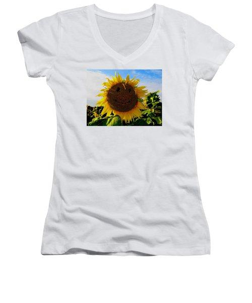 Kansas Sunflower Women's V-Neck (Athletic Fit)