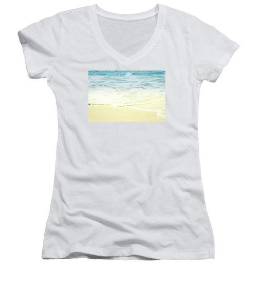 Kapalua Beach Dream Colours Sparkling Golden Sand Seafoam Maui Women's V-Neck T-Shirt (Junior Cut) by Sharon Mau