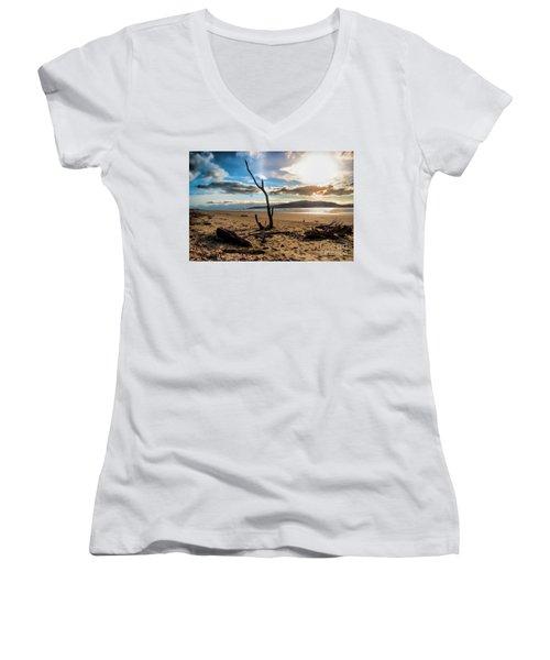 Kapiti Sunset Women's V-Neck T-Shirt (Junior Cut) by Karen Lewis