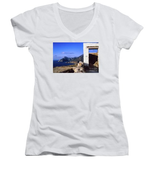 Women's V-Neck T-Shirt featuring the photograph Karpathos Island Greece by Silvia Ganora