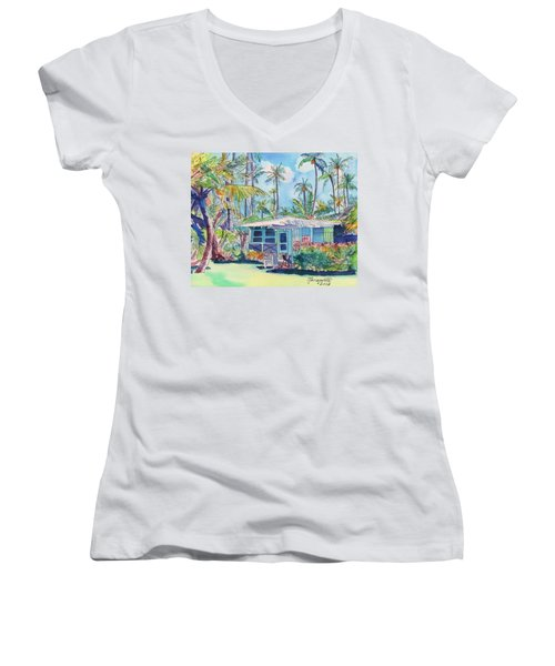 Kauai Blue Cottage 2 Women's V-Neck T-Shirt