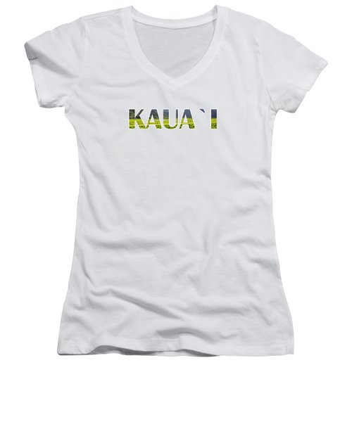 Kauai Letter Art Women's V-Neck T-Shirt (Junior Cut) by Saya Studios