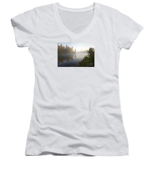 Women's V-Neck T-Shirt (Junior Cut) featuring the photograph Kawishiwi Morning Fog by Larry Ricker