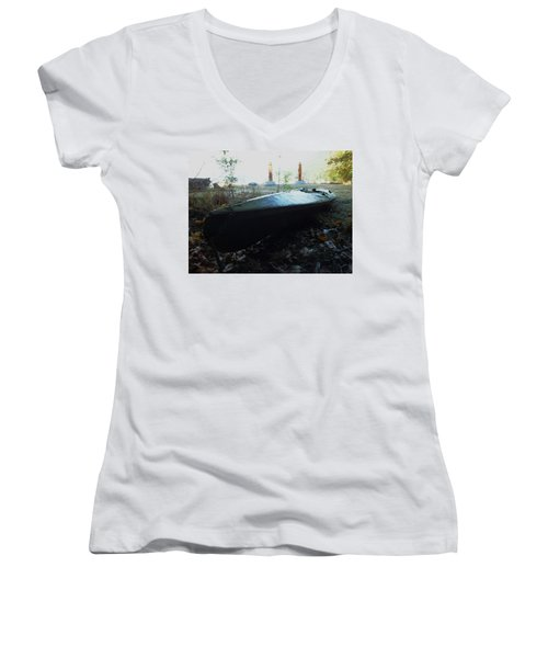 Women's V-Neck T-Shirt (Junior Cut) featuring the photograph Kayak by Mark Alan Perry