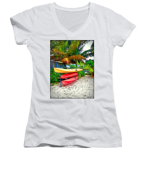 Kayaks In Paradise Women's V-Neck T-Shirt (Junior Cut) by Joan  Minchak