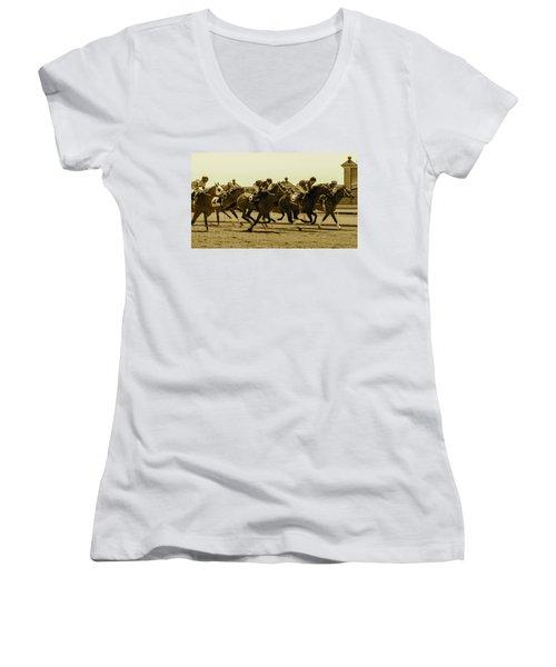 Keenland Sepia Women's V-Neck T-Shirt (Junior Cut) by Dan Hefle