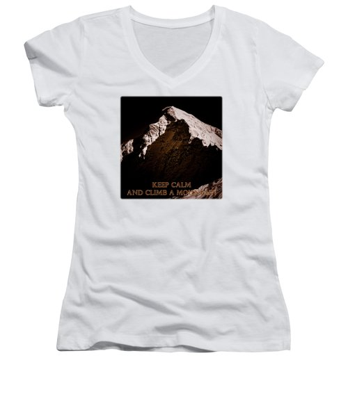 Keep Calm And Climb A Mountain Women's V-Neck T-Shirt (Junior Cut) by Frank Tschakert