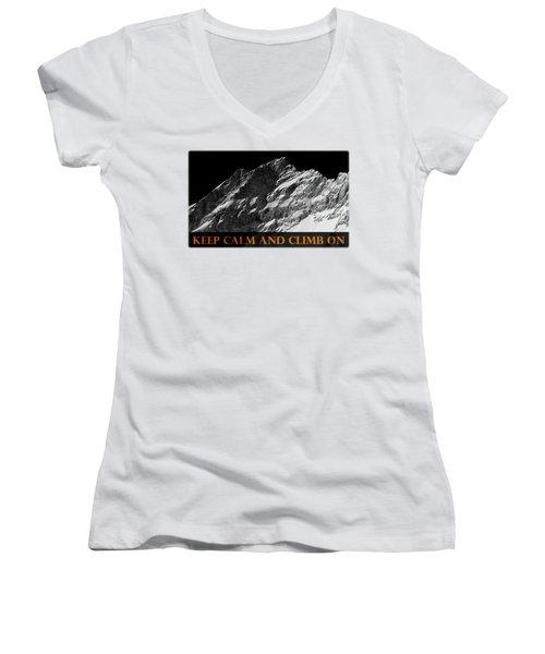 Keep Calm And Climb On Women's V-Neck T-Shirt (Junior Cut) by Frank Tschakert