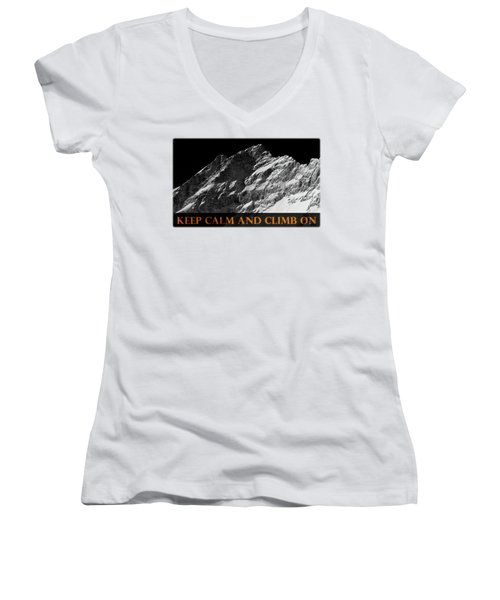 Keep Calm And Climb On Women's V-Neck (Athletic Fit)