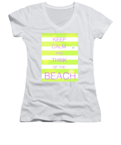 Women's V-Neck T-Shirt (Junior Cut) featuring the digital art Keep Calm And Think Of The Beach by Anthony Fishburne