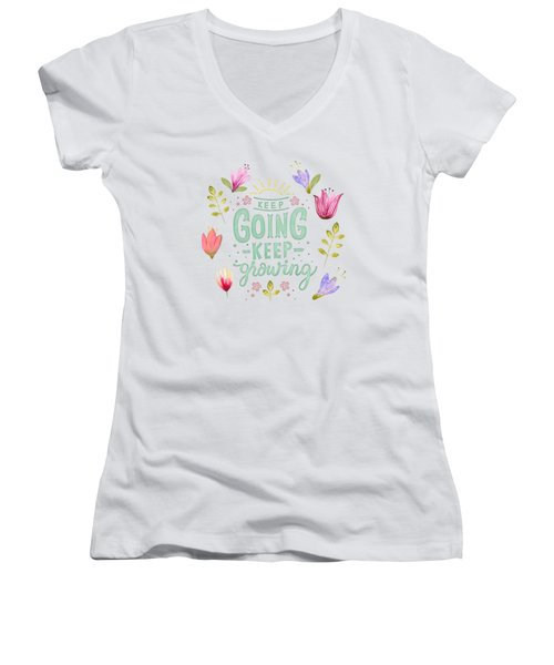 Keep Going Keep Growing Women's V-Neck (Athletic Fit)