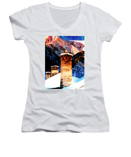 Women's V-Neck T-Shirt (Junior Cut) featuring the photograph Keeper Of The Light Adishi Svaneti by Anastasia Savage Ealy