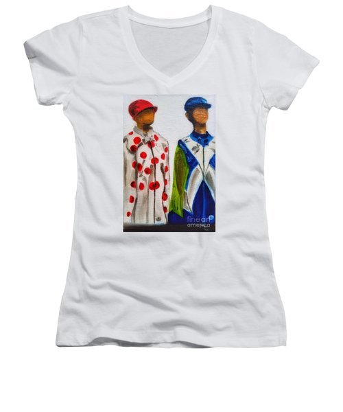Kentucky Derby Jockey Mannequins Women's V-Neck
