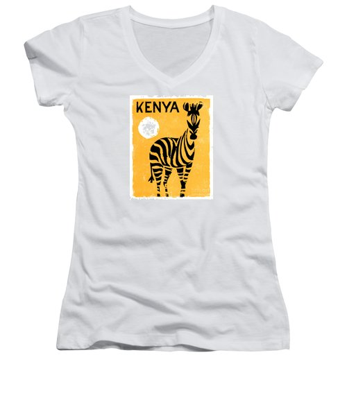Kenya Africa Vintage Travel Poster Restored Women's V-Neck (Athletic Fit)