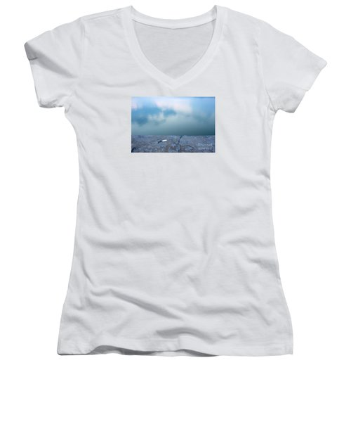 Key On The Lake Shore Women's V-Neck T-Shirt (Junior Cut) by Odon Czintos