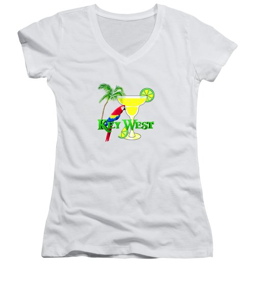Key West Margarita Women's V-Neck T-Shirt (Junior Cut) by Chris MacDonald