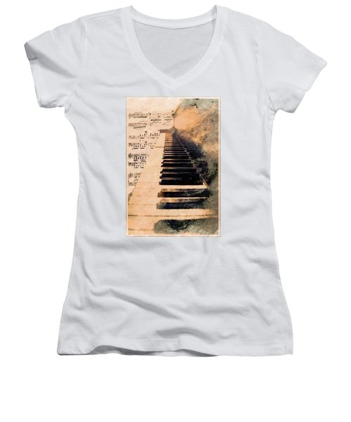 Women's V-Neck T-Shirt (Junior Cut) featuring the mixed media Keys To Greatness  by Aaron Berg