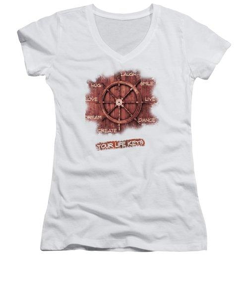 Keys To Happiness Typography On Wooden Helm Women's V-Neck T-Shirt (Junior Cut) by Georgeta Blanaru