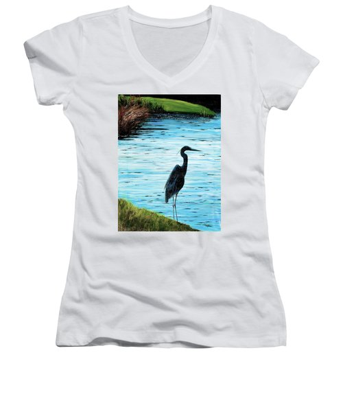 Kiawah Heron Women's V-Neck T-Shirt