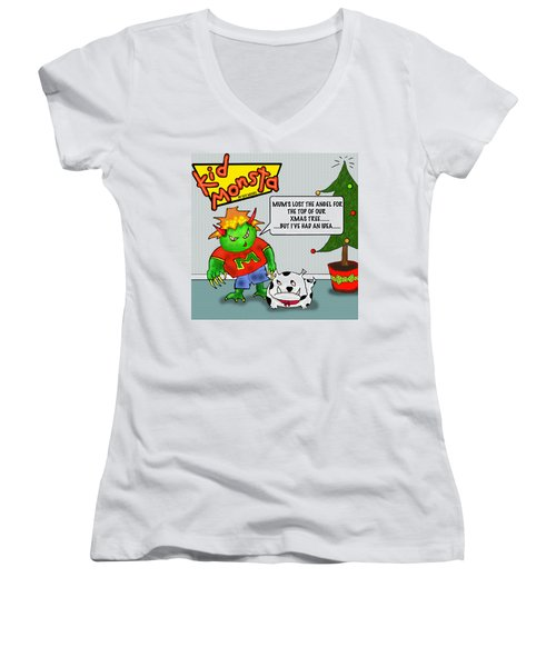 Kid Monsta Xmas 1 Women's V-Neck (Athletic Fit)