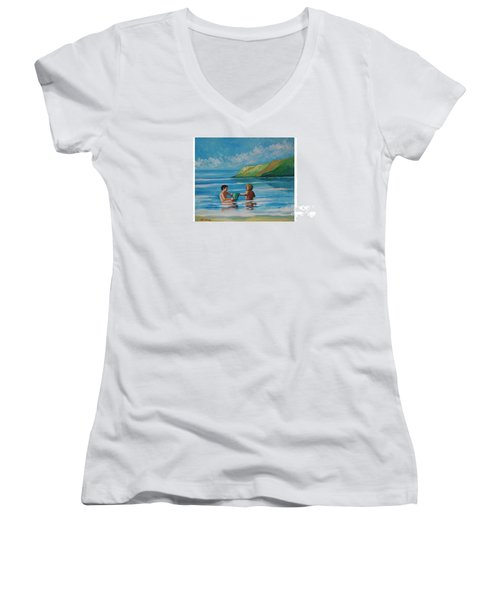 Kids Playing On The Beach Women's V-Neck