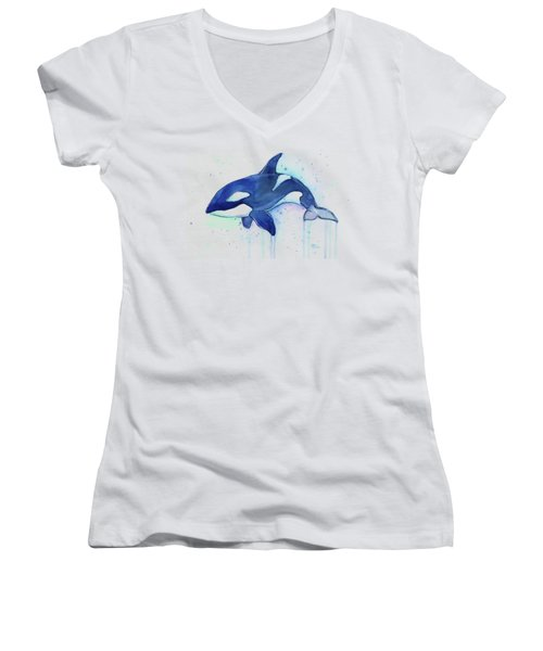 Kiler Whale Watercolor Orca  Women's V-Neck (Athletic Fit)