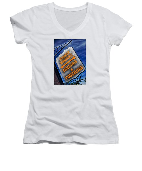 Women's V-Neck T-Shirt (Junior Cut) featuring the photograph Killer Whales Sign by Bob Pardue