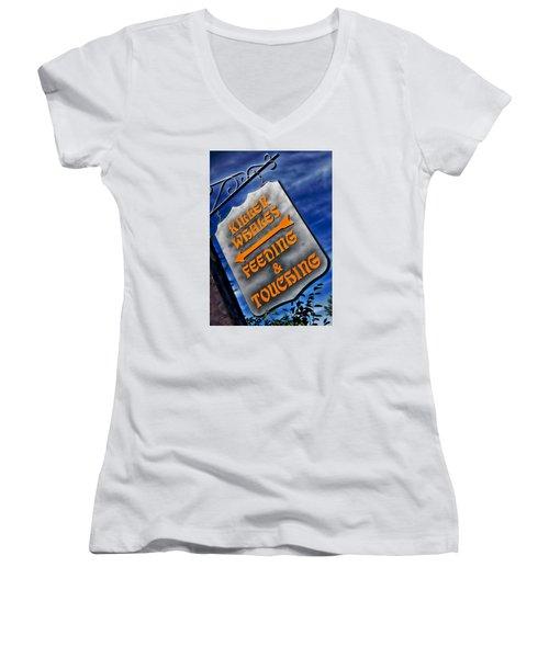 Killer Whales Sign Women's V-Neck T-Shirt (Junior Cut) by Bob Pardue